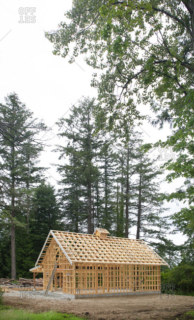 A small barn being built in Victoria, British Columbia, Canada