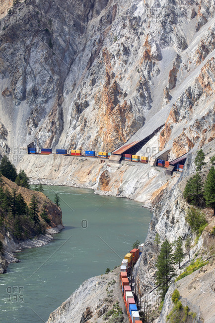 British Columbia, Canada - July 21, 2020: Train on the Canadian National Railway carrying containers at Fraser Canyon