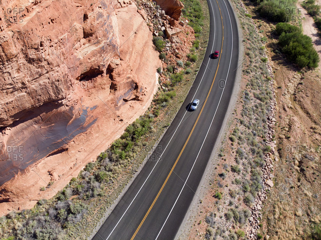 Aerial view of road in Arches national park, Moab, Utah