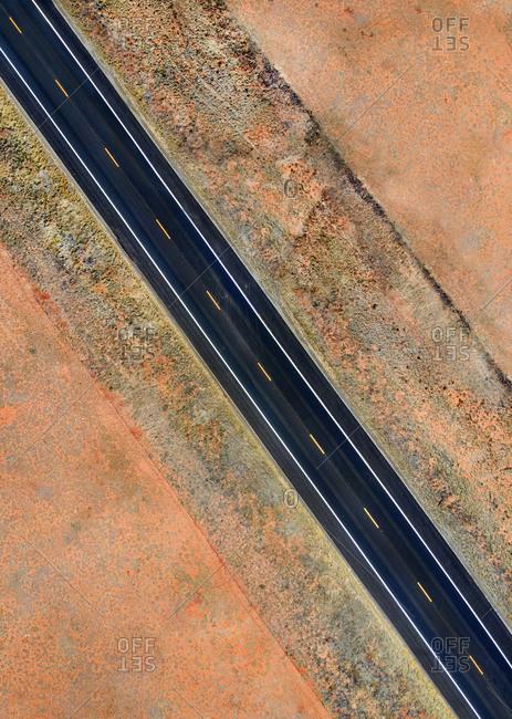 Empty roadway in desert region of Southern Utah, USA