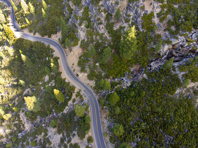 Eastern entrance to Yosemite Park roadway seen from drone, California, USA