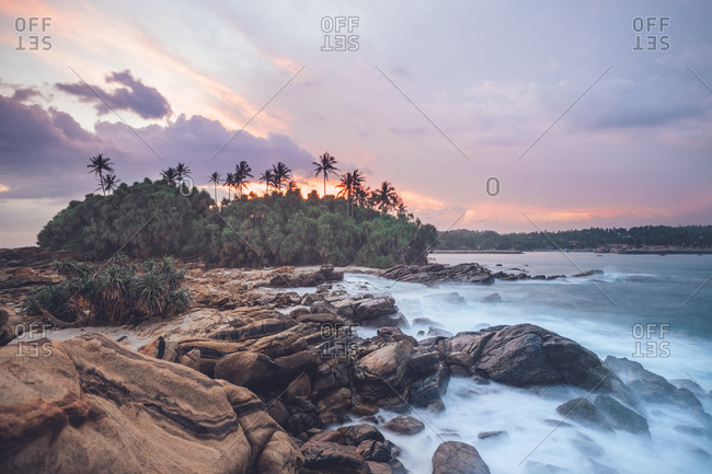 Amazing scenery of rocky coast and green palm trees near sea under picturesque sunset sky