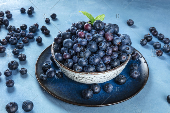 Fresh blueberries with green leaves in a bowl