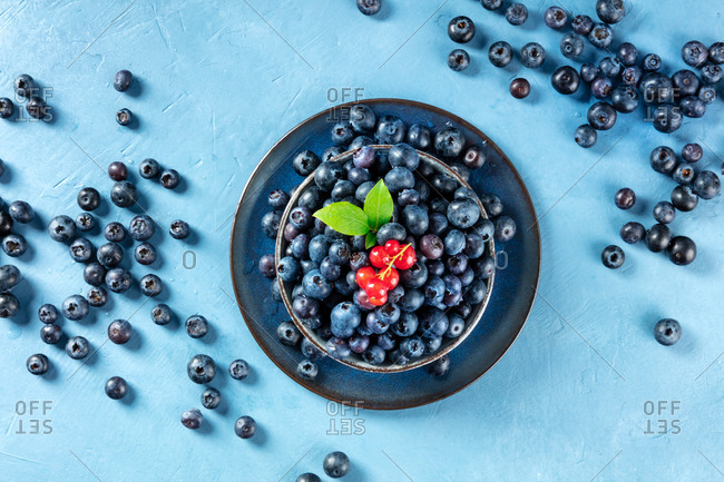 Fresh blueberries with green leaves and a branch of redcurrants, top shot