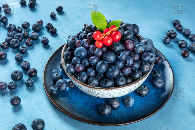 Fresh blueberries and red currants with green leaves