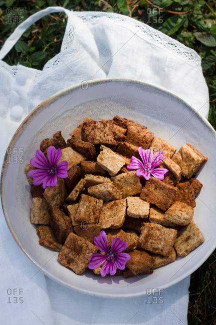 Cinnamon cereal on napkin in nature