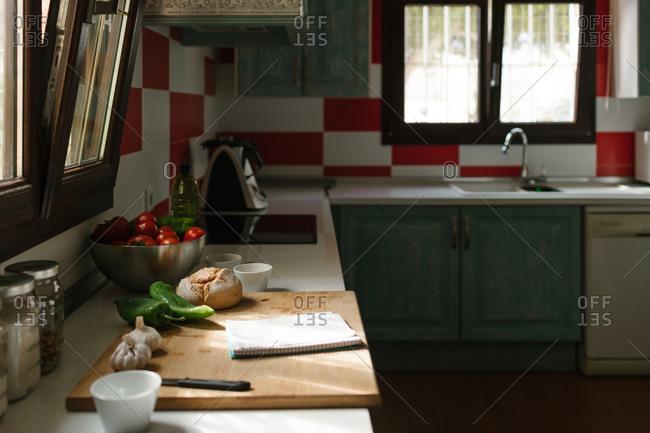Empty kitchen with food to prepare some veggie recipe