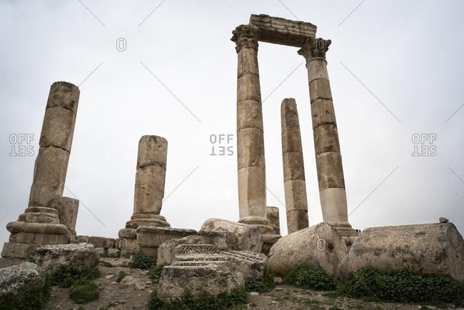 From below stone arch of Amman Citadel in Jordan