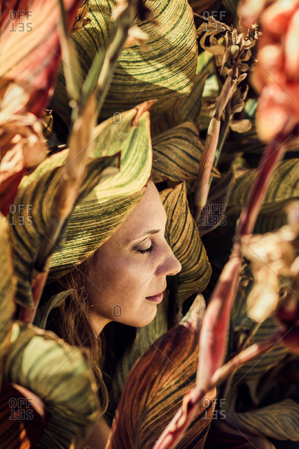 Tender female in summer wear surrounded by colorful leaves and flowers of canna plant enjoying sunny day with closed eyes