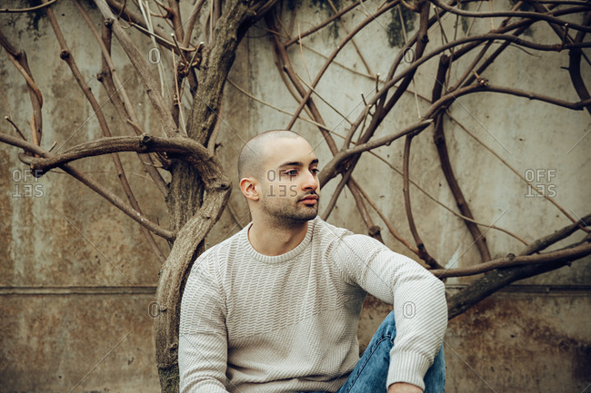 Serious young bearded male with short haircut wearing casual warm sweater and jeans looking away thoughtfully while sitting near dry leafless tree against shabby wall