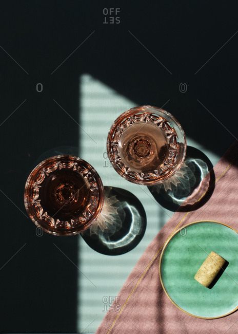 Glasses of rose wine on the table