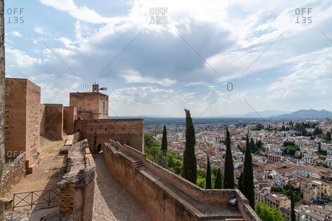 Granada, Spain - January 0, 1900: Panoramic view of the Albaicin neighborhood and The Alhambra. Granada, Spain