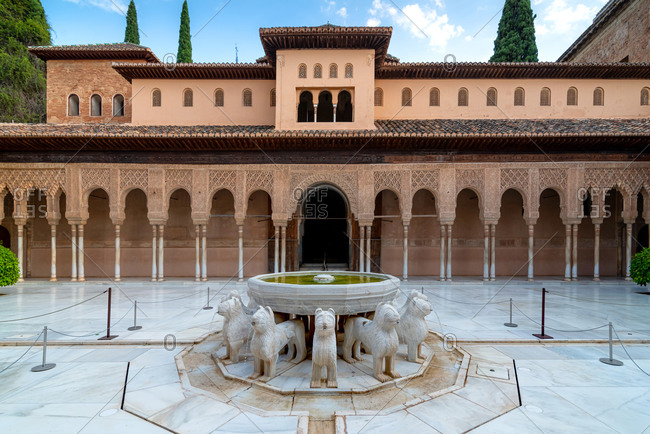 Granada, Spain - January 0, 1900: Court of Lions in Alhambra palace, Granada, Spain