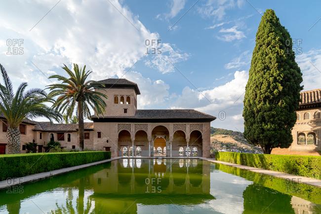 Granada, Spain - January 0, 1900: Partal Palace in La Alhambra. Granada, Spain