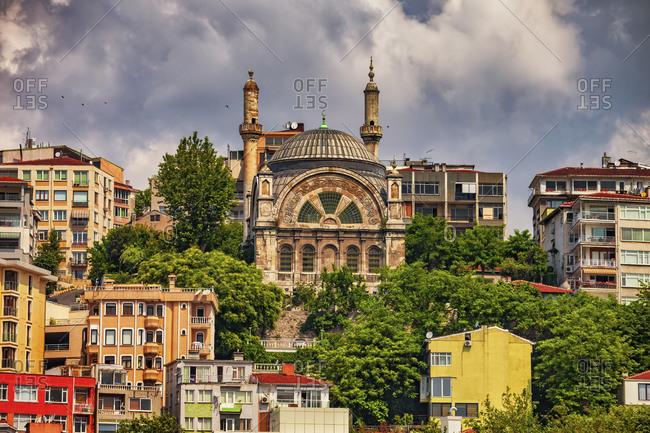 Turkey- Istanbul- Cihangir Mosque and houses in Beyoglu district