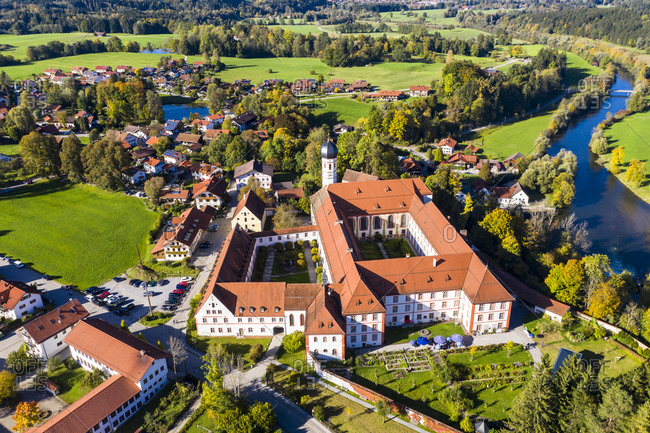 Germany- Bavaria- Upper Bavaria- Tolzer Land- Eurasburg- Aerial view of Monastery of the Salesians or Beuerberg Monastery