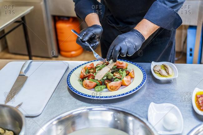 Chef garnishing plate with salad and fish