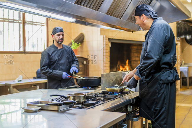 Traditional cooking in restaurant kitchen
