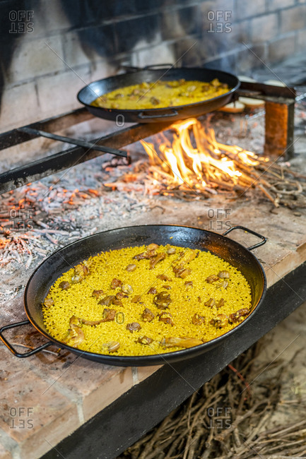 Typical Spanish seafood paella in a pan