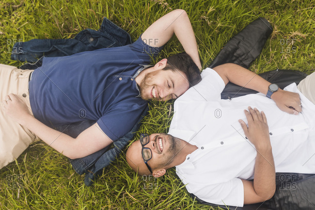 Cheerful gay couple relaxing on grassy land in park