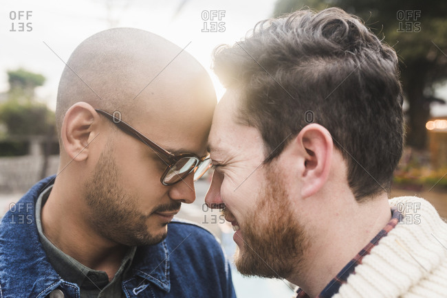 Close-up of romantic gay couple with head to head in park