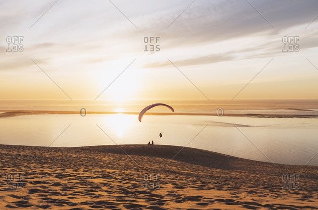 Scenic view of Arcachon bay against sky during sunset- Nouvelle-Aquitaine- France