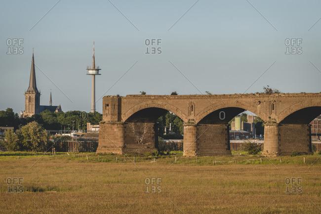 Germany- North Rhine-Westphalia- Wesel- Ruins of Wesel Railway Bridge