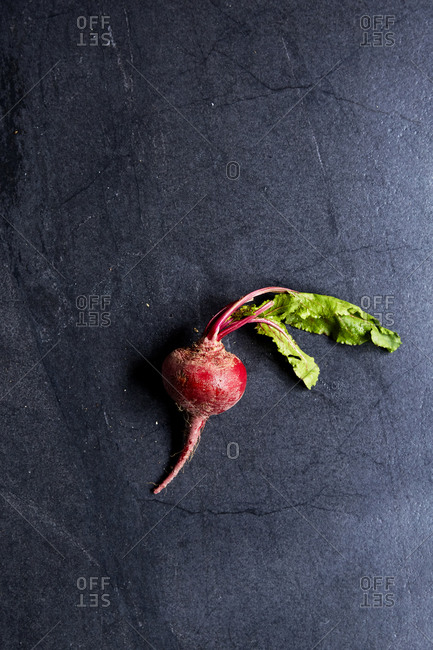 A single beetroot on a moody background