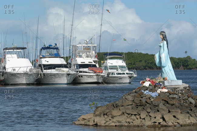 Brazil - August 4, 2020: Yemoja sea goddess statue in a harbor