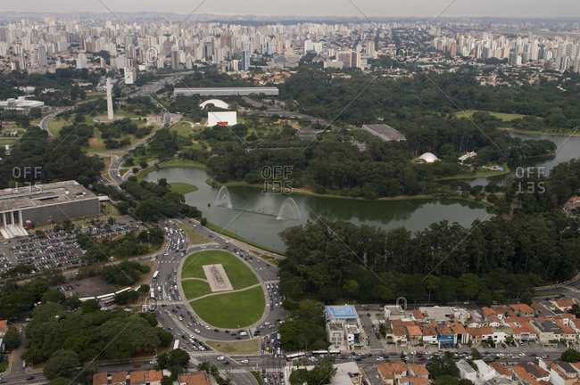 Sao Paulo, State of Sao Paulo, Brazil - April 29, 2008: Aerial view over Ibirapuera Park with downtown in the distance