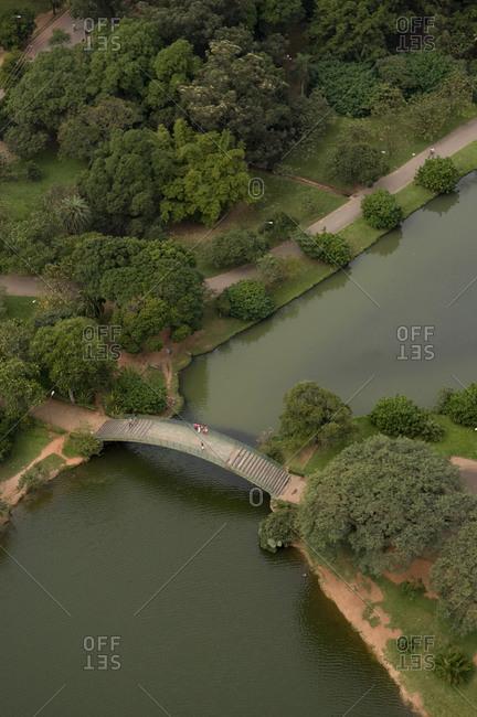 Aerial view over iron bridge in Ibirapuera Park, Sao Paulo, State of Sao Paulo, Brazil