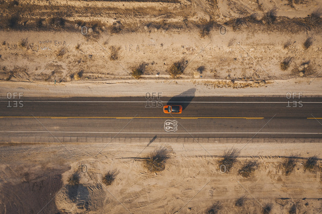 A car on highway 66 from above, california
