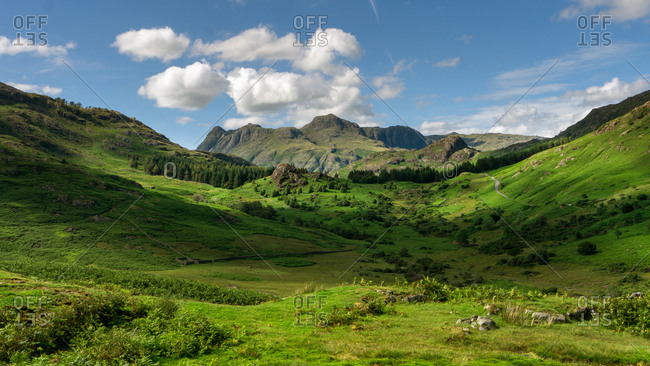 Aerial of blea moss and blea tarn with the langdales in the background the english ac district uk