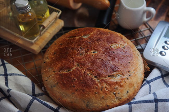 The sourdough bread on the table