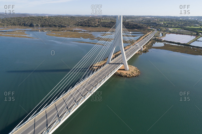Bridge of portimao from aerial view