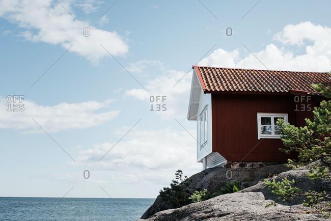 Traditional swedish summer house in grisslehamn, sweden