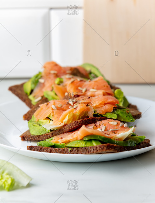 Salmon and salad sandwich