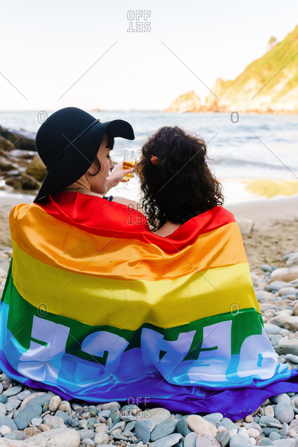 Back view of loving homosexual couple covering with LGBT flag and clinking glasses with champagne while resting on stony shore at seaside during holiday