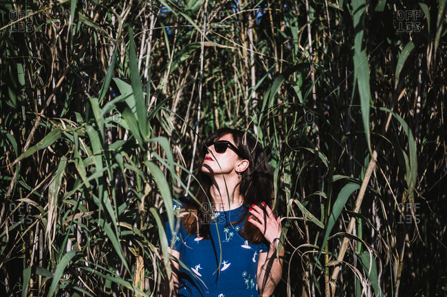 female in blue summer dress standing in green field near sugar cane and looking up