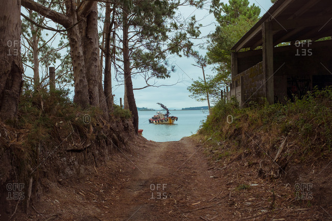 Dry walkway passing between trees with thick trunks and wooden house with motorized boat floating on river under serene sky