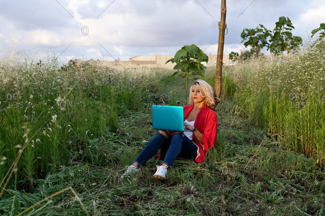 Full length concentrated female wearing jeans and red jacket sitting on grassy lawn against thin tree trunk and browsing modern portable netbook