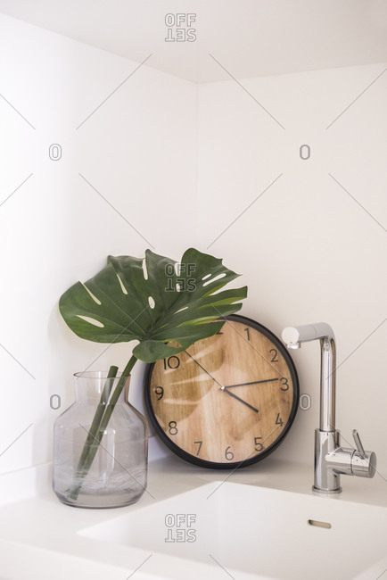Set of round clock and green monstera leaf in glass vase arranged on sink near white wall in light kitchen