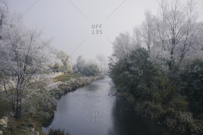 Amazing view of calm garden with river and trees covered with frost during winter in Burgos