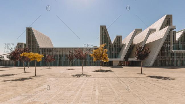 August 19, 2013: Facade of contemporary Congress Center of modern futuristic style located in Zaragoza on sunny day