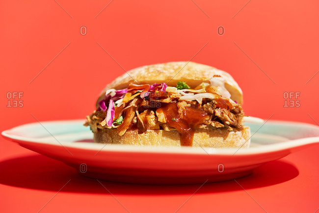 Pulled pork sandwich on a bun sitting on plate with red background
