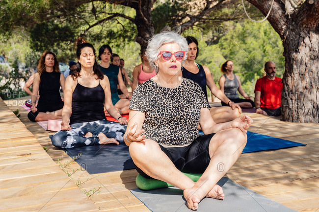 Focused mature female in lotus pose meditating while practicing yoga in open air sitting on wooden podium