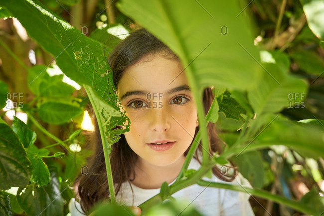 Charming preteen girl with dark hair in casual white shirt looking at camera with smile while standing under green tree branches in summer garden