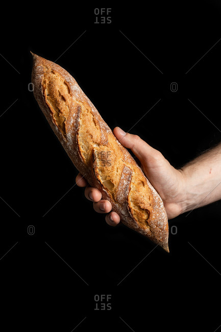 Unrecognizable crop male hand cook holding tasty crunchy baguette in bakery on black background