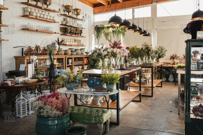 Interior of modern floral shop with various bouquets and decorative pots and vases arranged on wooden counters and shelves inside spacious pavilion