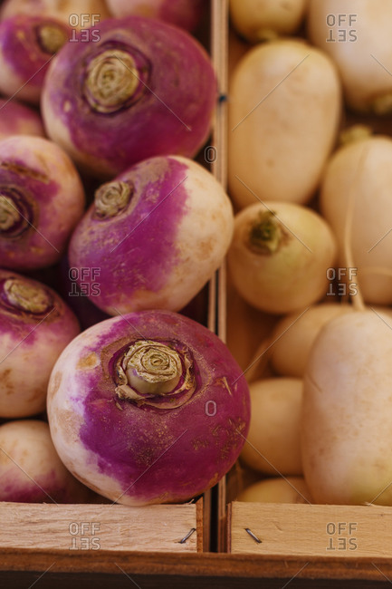 High angle of nutritious turnips and white radish placed in wooden boxes in marketplace